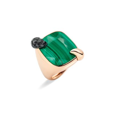 POMELLATO ANELLO RITRATTO oro rosa 18K con 1 malachite 21 ct e 19 diamanti black 0,6 ct.