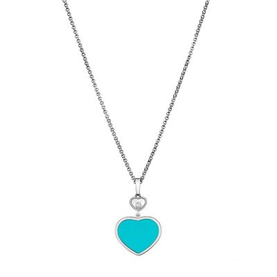 Happy Hearts White Gold Turquoise Diamond Pendant