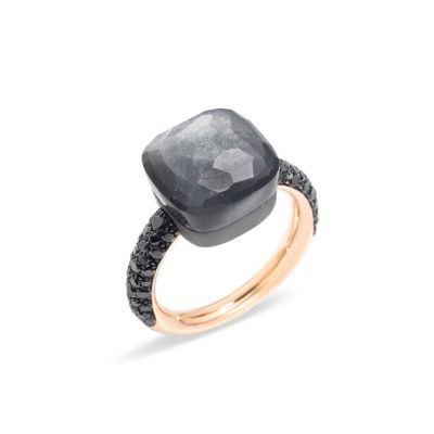 POMELLATO ANELLO NUDO oro rosa 18K e titanio, adularia grigia 11 ct, 58 diamanti black 0.77 ct one shot