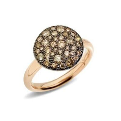 Pomellato ANELLO IN ORO ROSA CON PAVE' IN ORO ROSA BRUNITO E CON BRILLANTI BROWN