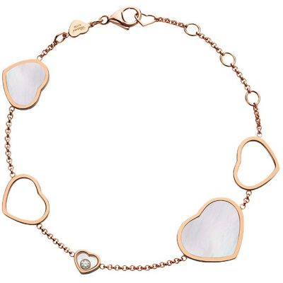 HAPPY HEARTS BRACCIALE, ORO ROSA, DIAMANTE, MADREPERLA