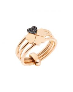 ANELLO LUCKY IN LOVE. Oro rosa 9kt, Diamanti black trattati.